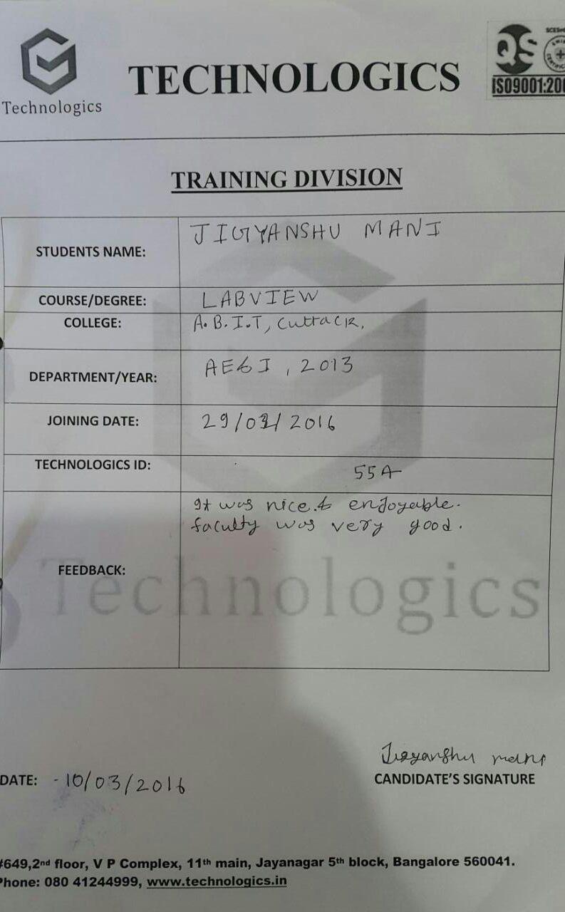 ABIT_Cuttack, Odisha_PLC training_Student Review