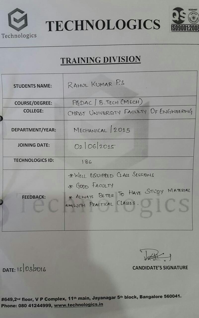 rahul kumar_christ university_ bangalore_plc training_reviews